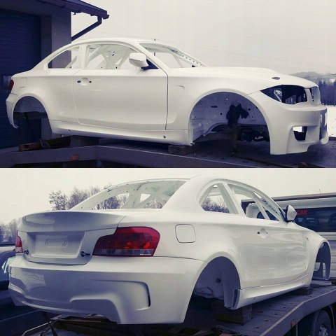REAR REINFORCEMENT PANEL WITH FENDERS BMW E82 COUPE (FIBERGLASS CLOTH)